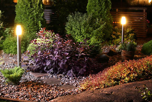 Landscaping lighting at residential home.